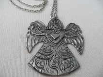 Large Pewter Angel Pendant Signed on Chain in Kingwood, Texas
